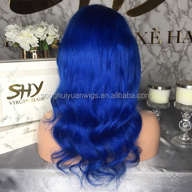 Good Looking Virgin Hair 14 Inch Glueless Blue Lace Front Wig In Stcock Ligezhuang Town Human Hair Production Base