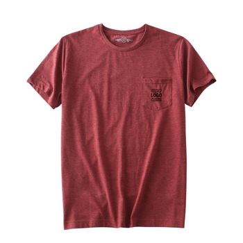 High quality latest custom t shirt with front chest pocket wholesale dark red sport round neck t shirt plain
