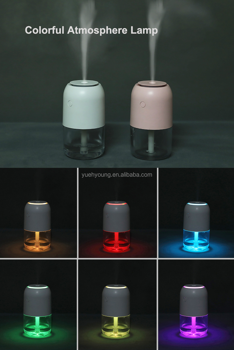 2020 Hot Sale Colorful Led Lights Ultrasonic Portable usb Rechargeable Battery Mini Car Humidifier Nano Mist Air Diffuser