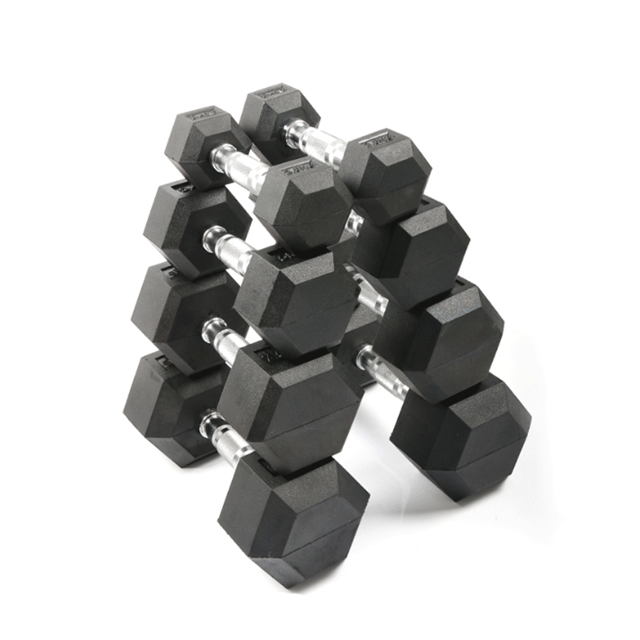 Gym exercises <strong>weight</strong> lifting black color cast iron fixed rubber hex dumbbells set for unisex