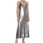 Stylish Lady V Neck Metallic Spaghetti Strap Wrap Silver Long Dresses