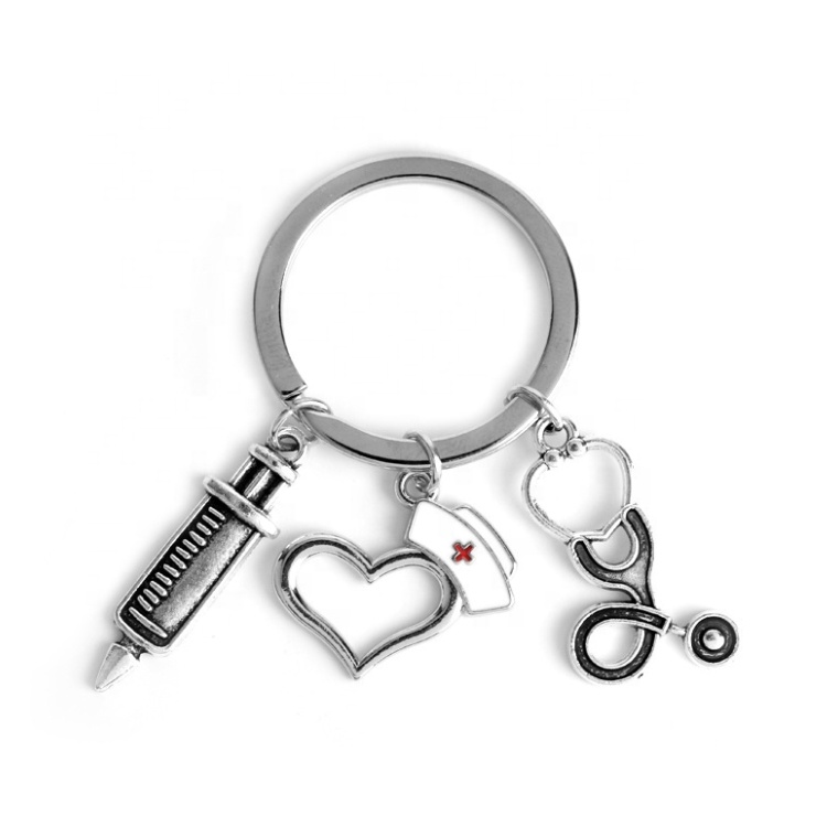 2019 new nurse medical box medical key chain needle syringe stethoscope <strong>cute</strong> keychain jewelry <strong>gift</strong>