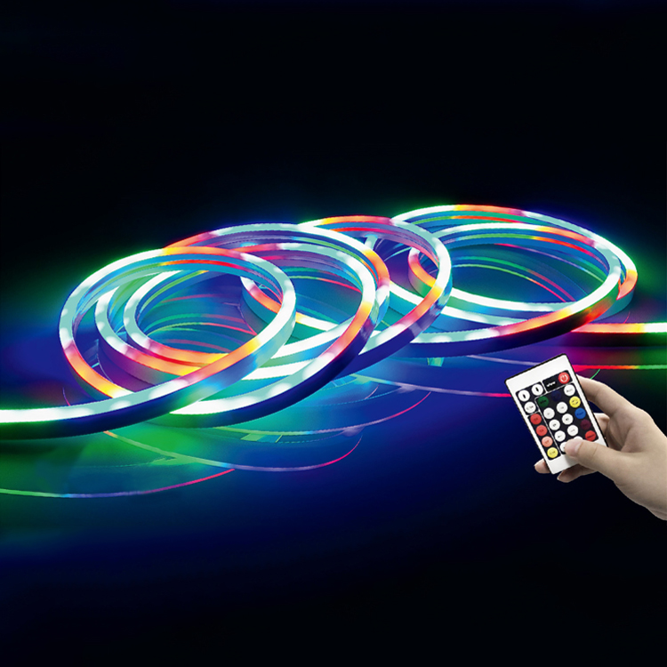 5050 Tahan Air Fleksibel Lampu Neon Strip, Remote Control LED Neon Flex Strip RGB Digital IP44 LED Neon Strip