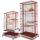 3 layer foldable large pet cat cages big wired wooden folding indoor boarding display carriers & houses hammock metal cage