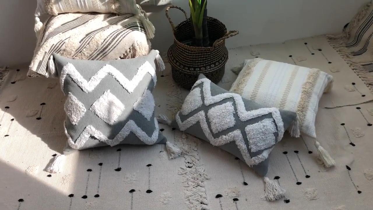 Nodic простой марокканский Boho Coussin декоративный Чехол на подушку с вышитыми кисточками в стиле бохо этнические чехлы на подушки