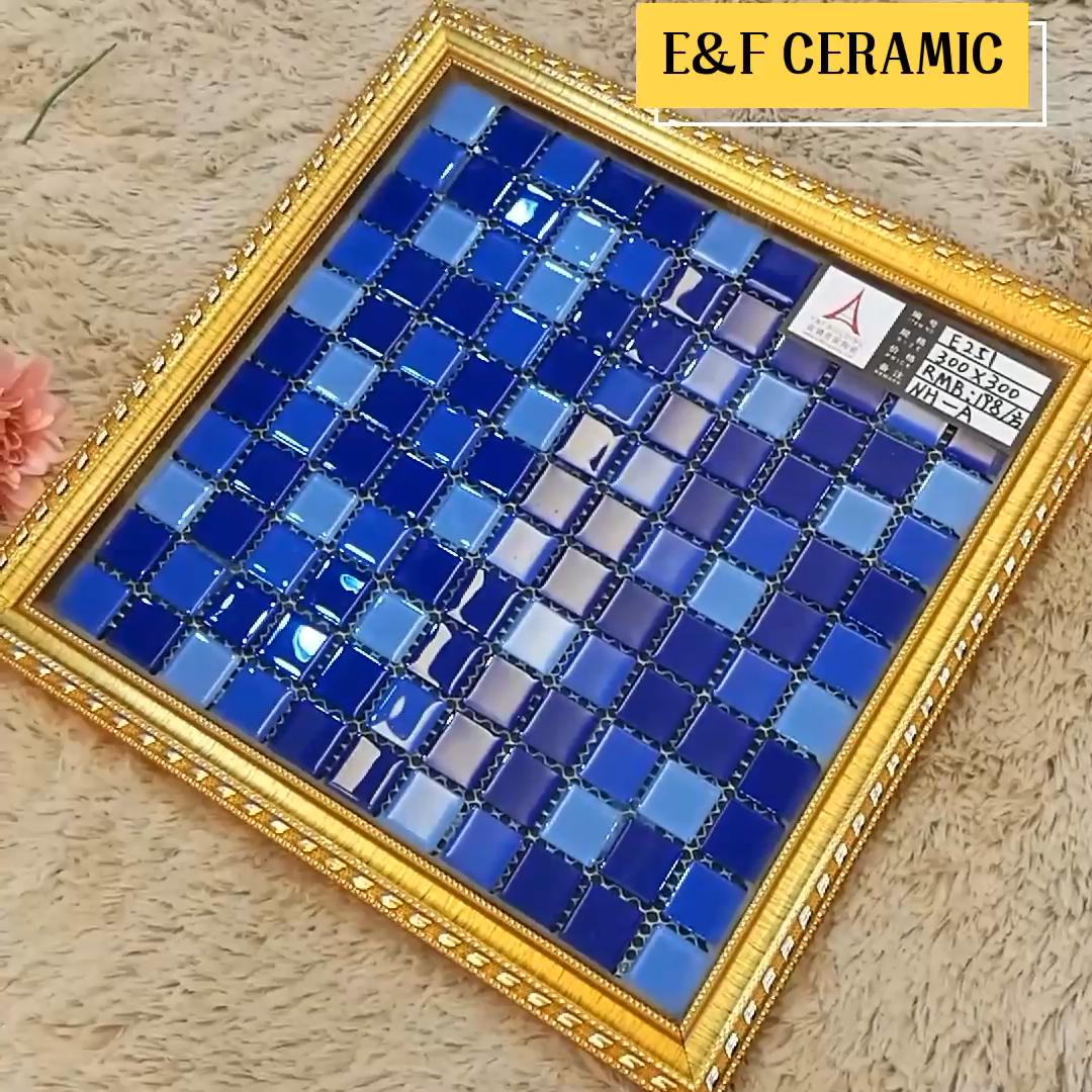 Kamar mandi kaca mosaik ubin dinding mengkilap populer warna biru kaca mosaik ubin untuk kolam renang