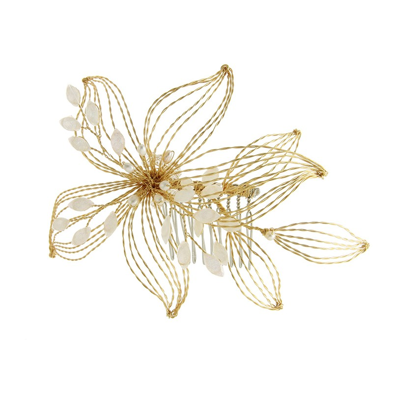 Best Sales Gold Copper Wire Hand-woven Wedding Bridal Hair Comb For Women
