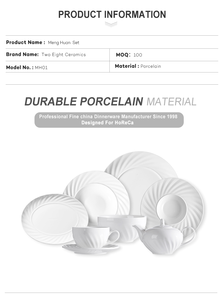 Banquet Good Price Porcelain Tableware Hotel White Dinnerware Sets Luxury Porcelain