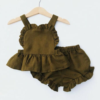 Latest Design Kids Girls' cotton and linen top shorts Clothing Sets dress baby Girls Boutique summer Clothes