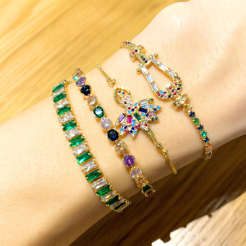 New Fashion Micro Pave CZ Bracelet Adjustable Rainbow Copper Zircon Bracelet for Women
