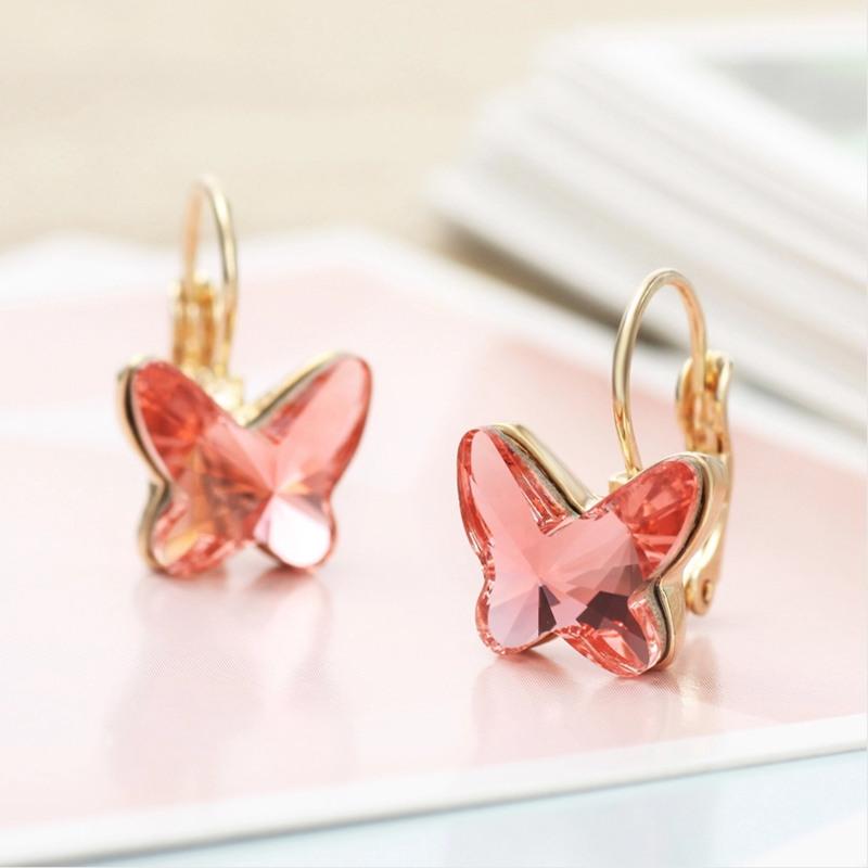 Boucles d'oreilles papillon plaquées or | Haute qualité, pendentif diamant, femmes, bleu rose