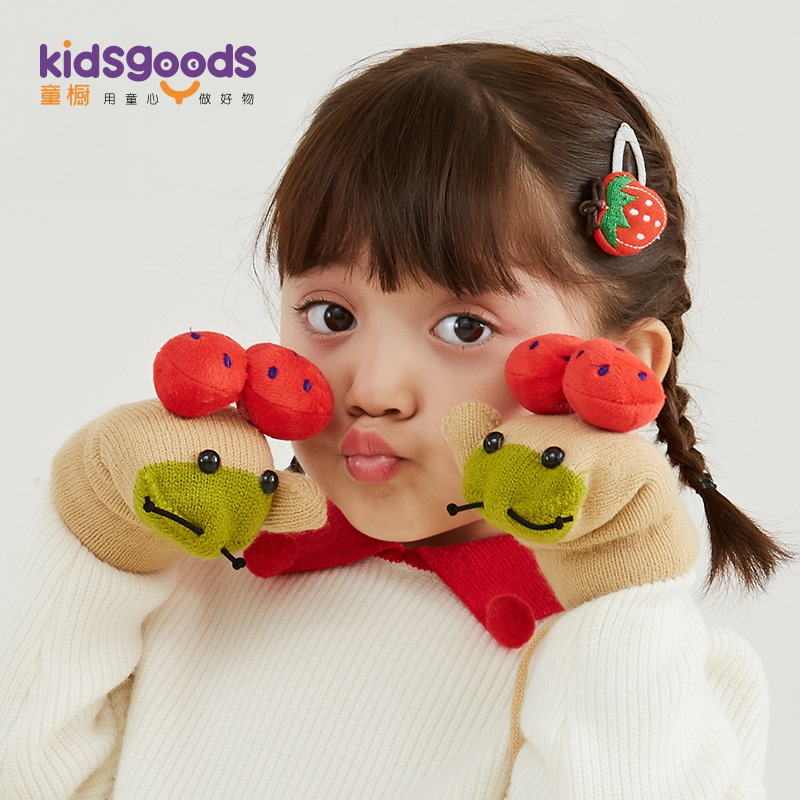 Winter kids Knitted Cotton mittens Latest Thick Warm Cute Cartoon ladybug baby mittens with Lanyard
