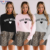 Autumn New Letter Print Sweater Women Leopard Print Shorts Fashion Sports Casual Suit