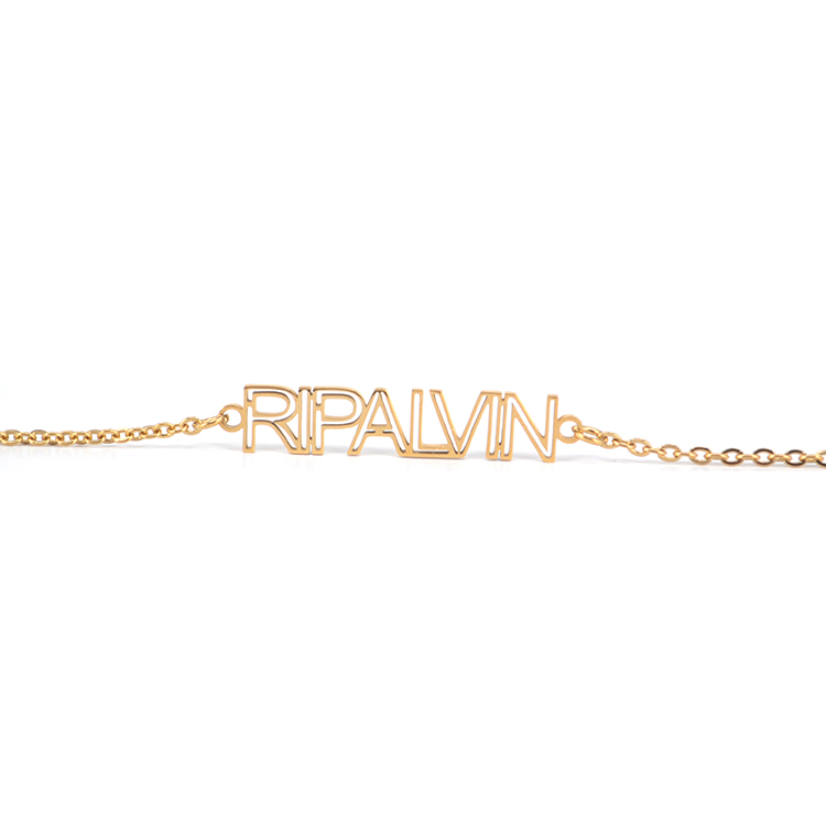 Personalised Custom 24K Gold Plated Letter Name Plate Necklace
