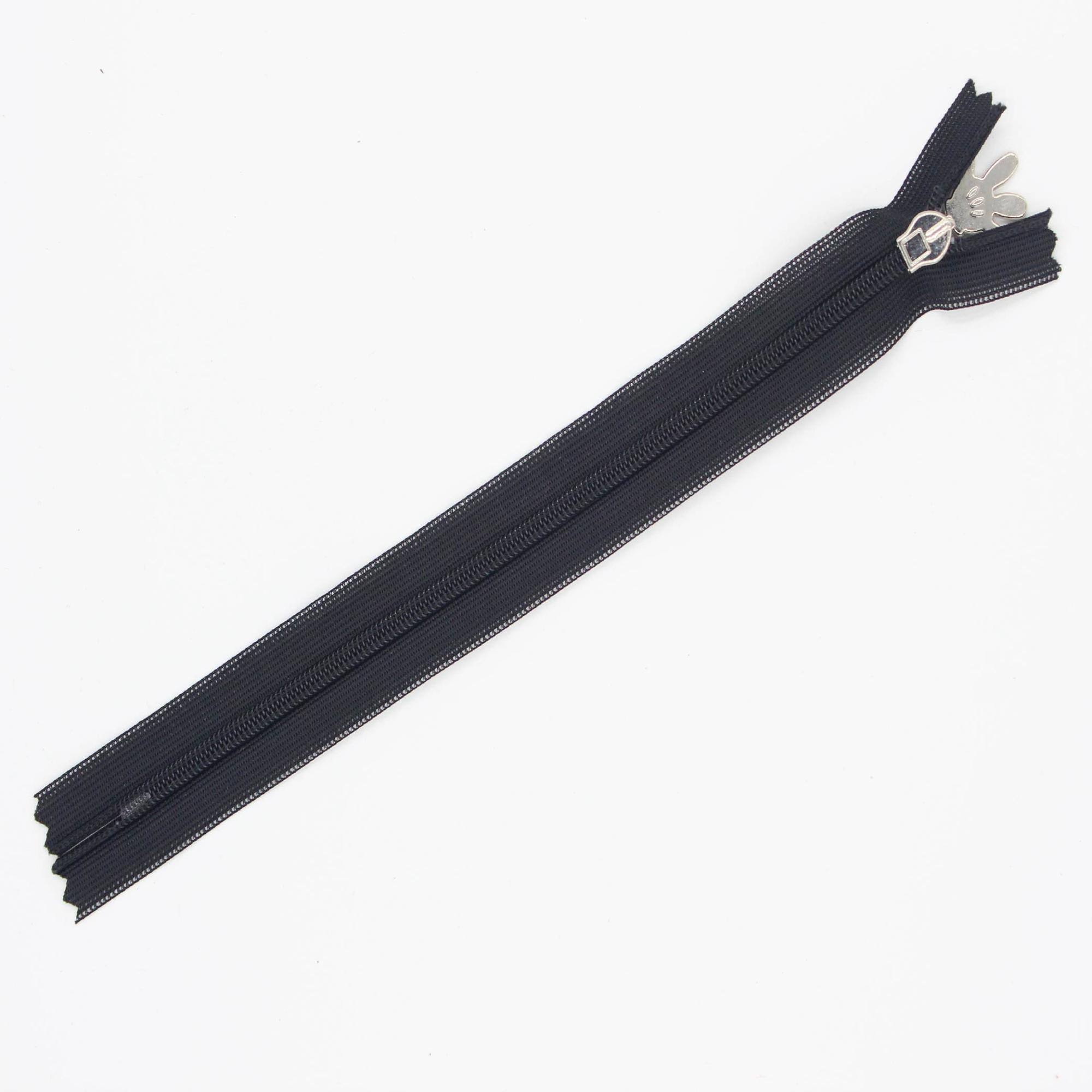 Hot sale black invisible nylon #3 close end reverse zipper for clothing accessories zipper