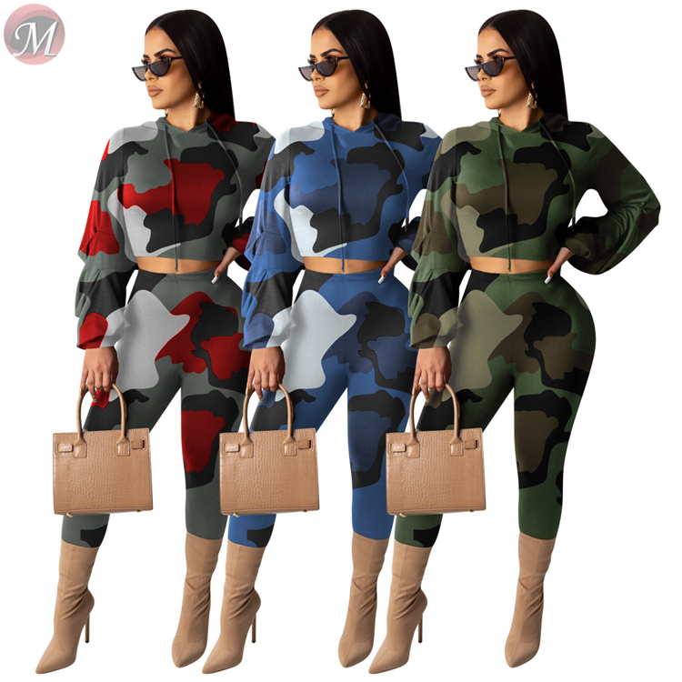 9112515 newest heap sleeve crop hooded hoodies long pants camouflage Two Piece Set Women Clothing