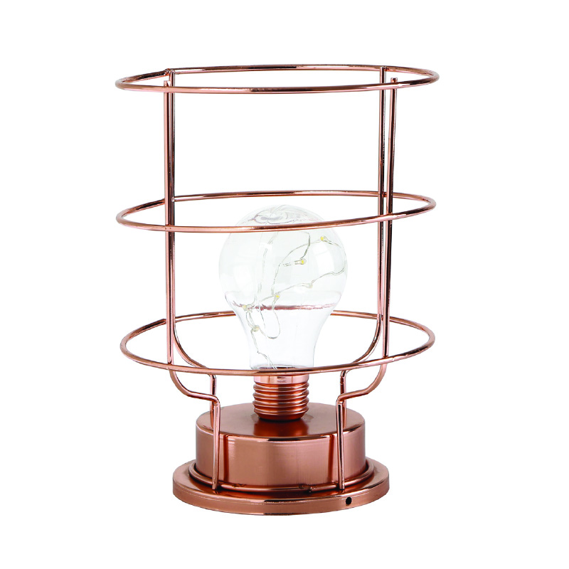 5L warm white wrought iron hurricane lamp  with metal cylinder shape and bulb from China supplies 2018 hot sale