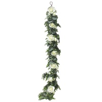 China hot sale realistic silk garland wall backdrop arch event plant ceiling wedding decoration vine rose flower garland