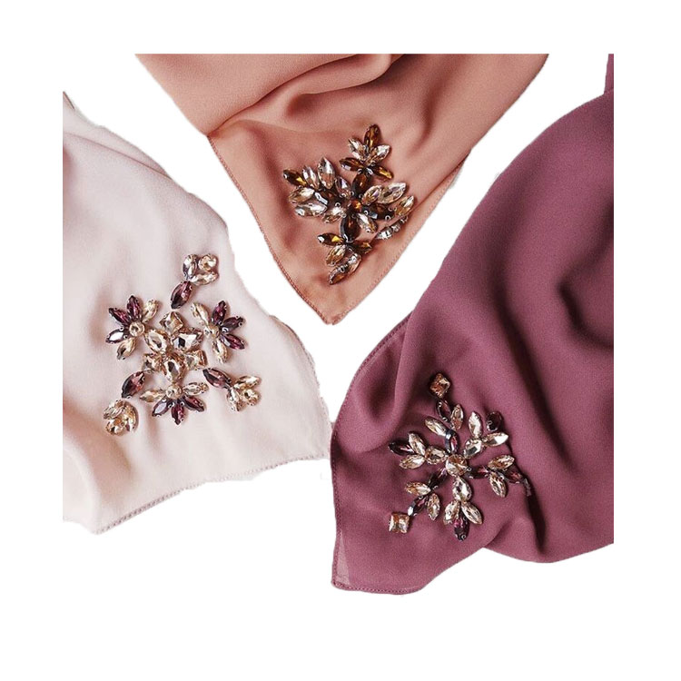 Vrouwen Multi Color Vintage Crystal Rhinestone Stoned Moslim Zware Chiffon Instant Islamitische Sjaal Hot Selling Maleisië Abaya Hijab