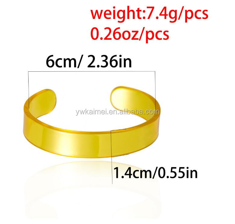New 6 Colors Fashion Resin Cuff open Bangles Wrist Chain Charm Acetate Acrylic Bracelets Bangles for Women Girl Jewelry