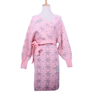 2019 Warm Snowflake Appliques Belt Ladies Cardigan Sweater Dress