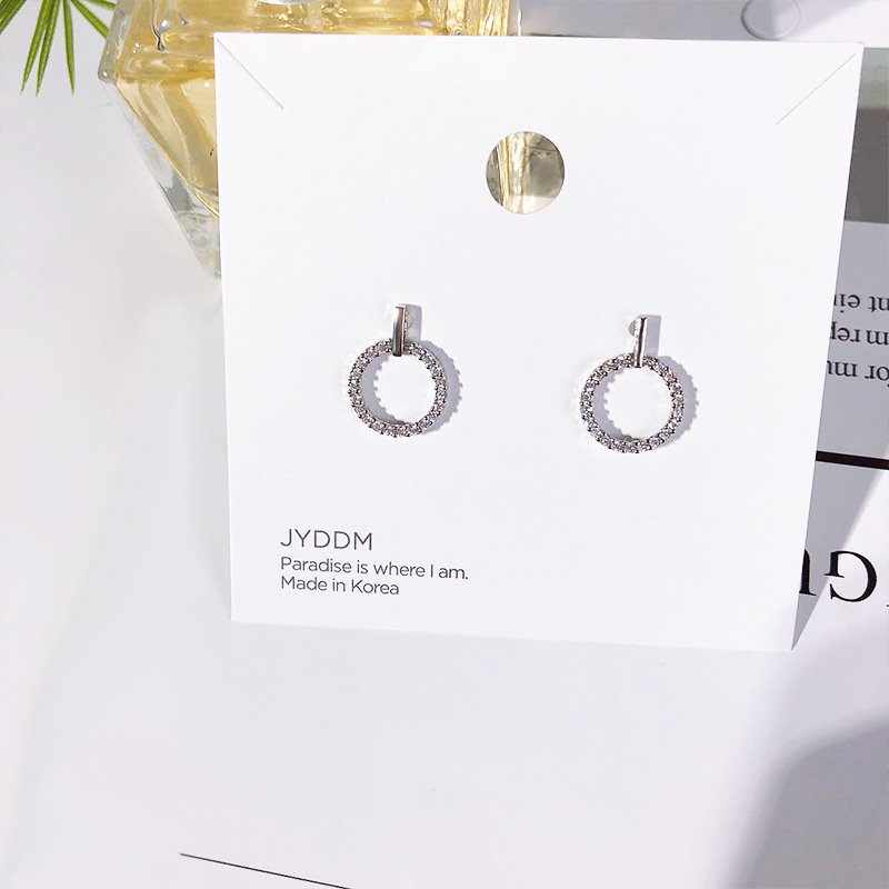 Best Selling Micro Inlaid 925 Zircon Stud Earrings High Quality Zirconia Cubic Circle Earrings