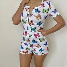 2020 летние женские сексуальные комбинезоны спандекс 3D принт бабочки сексуальные комбинезоны женское белье для домашней носки женские пижам...(Китай)