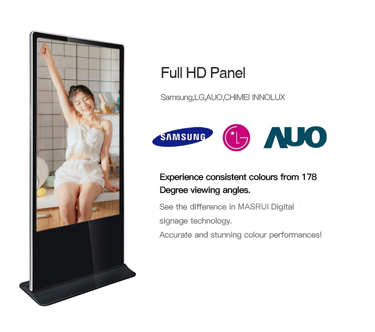 55 inch Portable Ultra Slim Double Sided Software Floor Stand LCD Digital Signage Kiosk