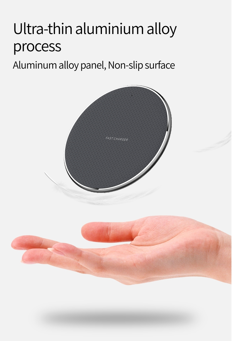 OEM Gift Cheap Aluminium Alloy 10w Fast Charging Wireless Charger Qi for iPhone Xs Max X 8 Plus for Samsung