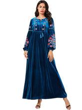 Арабское женское фиолетовое вышитое повседневное бархатное платье-халат золотого цвета, платье для мусульманского фестиваля, платье больш...(Китай)