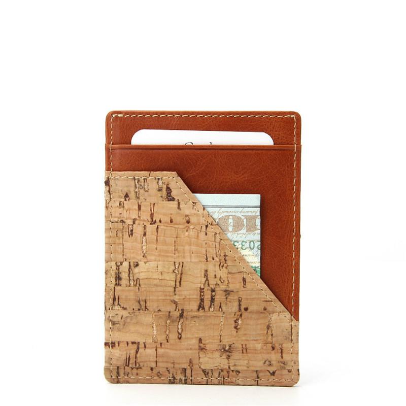 شعار مخصص بسعر الجملة حامل بطاقة الرجال ضئيلة متعددة بطاقة محفظة نسائية للعملات المعدنية الصغيرة محفظة من البولي يوريثين حامل بطاقة الفلين
