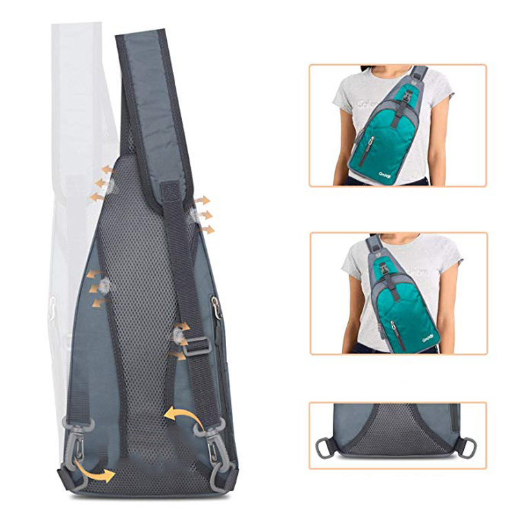 Custom Waterproof Unisex Nylon Shoulder Chest Crossbody Bag