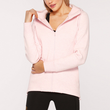 Custom Logo Hoodie Zip Up Ladies BTS Hoodie Pink Outdoor Jacket Street Style Sport Wears Women Blank Sweatshirt