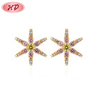 18k Gold Plated Cubic Zirconia Cubic Zirconia Stud Earrings Korean Style Fancy 18K Gold Plated Multicolor Cubic Zirconia Stud Earring