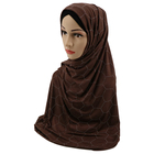 Customize stretchy jersey stone crystal jersey scarf ladies shawls and wraps black hijab scarf