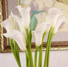 Venta al por mayor Decoración de casa Blanca Flor Artificial toque Real Pu Calla <span class=keywords><strong>Lily</strong></span>