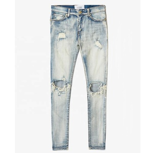 DiZNEW OEM Slim Fit Dirty Jeans Ripped Holes Fashion Denim Pants for Men