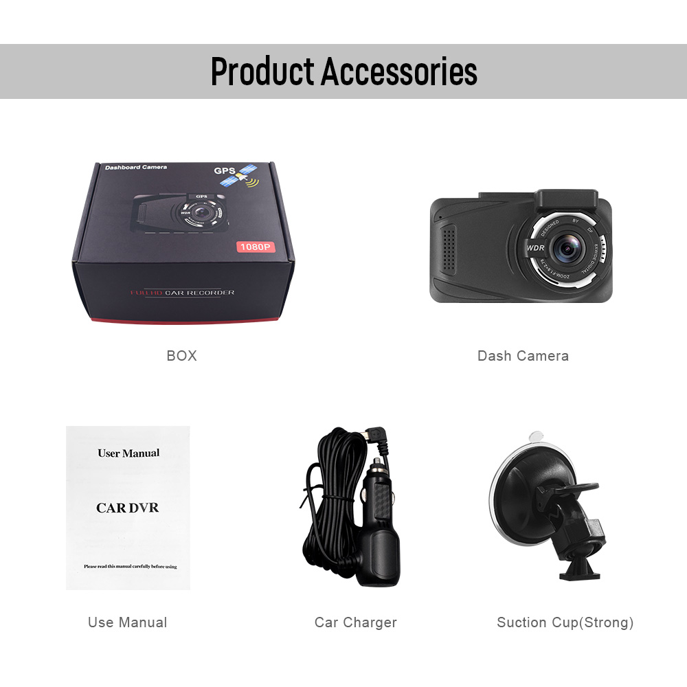 New 3.0 Inch Full HD 1080P Dual Lens GPS Dash Camera Night Vision Video Recorder Dvr
