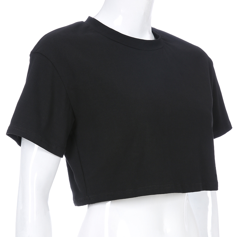 2020 new model basic solid color crop top t shirt oem tshirts blank t shirts t-shirt woman t-shirts