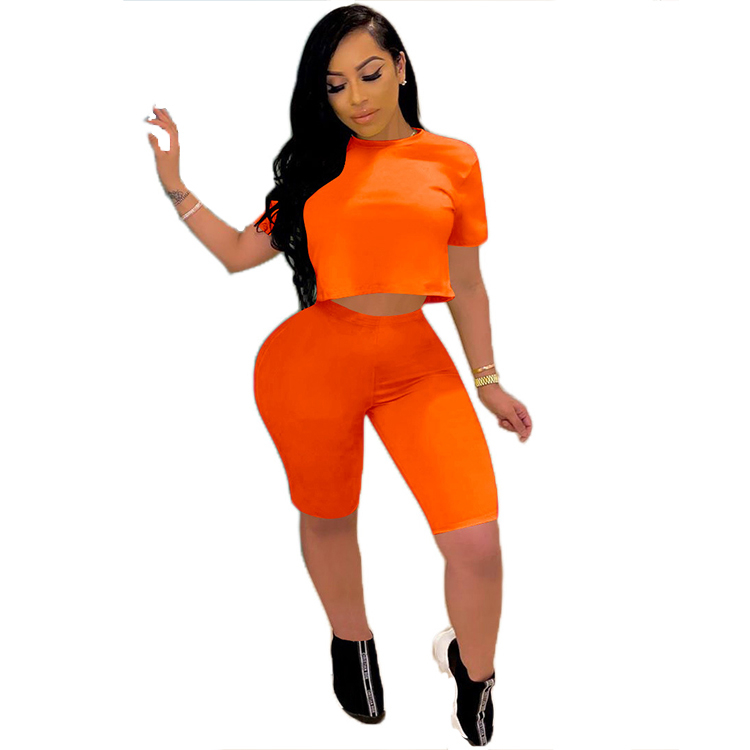 0070123 Popular Summer fashion casual solid color sports suit Sexy 2 Pcs Track Suit Outfits Two Piece Shorts Set Women Clothing