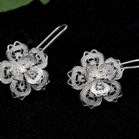 Chinese Miao traditional silver jewelry A flower-patterned Earrings silver ring for Christmas gift