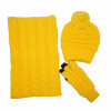 Winter lady yellow color scarf hat gloves set acrylic knit winter warm pom hat and touch screen gloves set