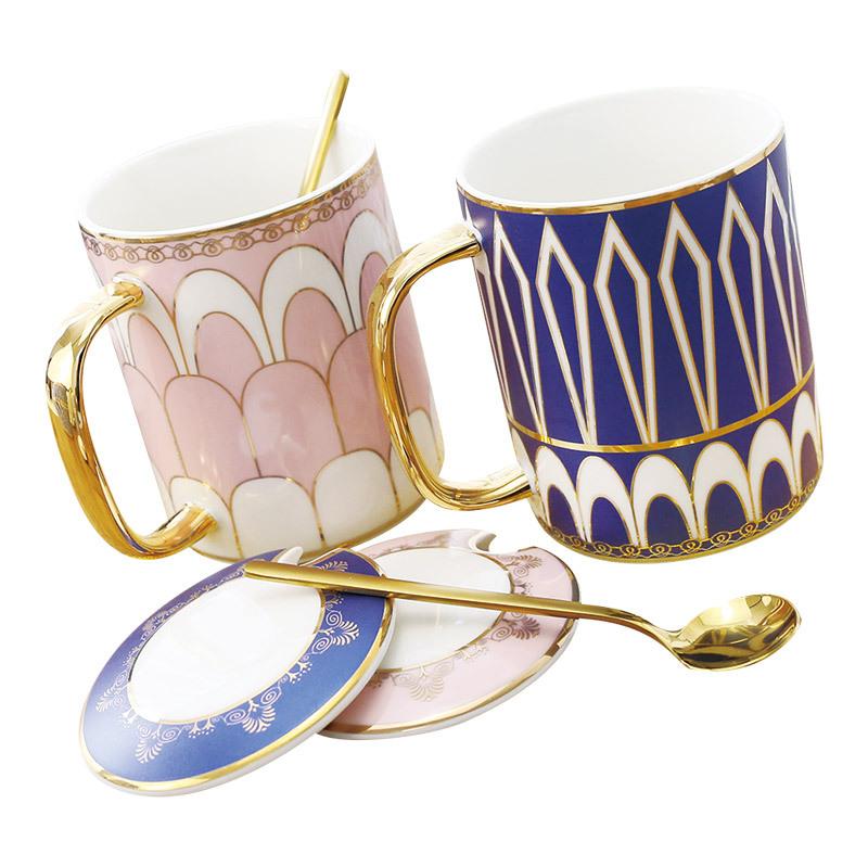 Design White Ceramic Coffee Tea Cup with Mental Glitter Heart Stripe Printing, Gift for Creativity,Gold Handle Mug