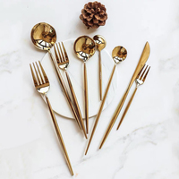 Hotel 4pcs gold plated Stainless Steel gold cutlery sets for Wedding Restaurant Festival