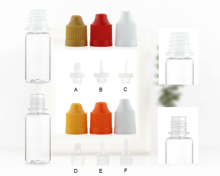 5ml plastic pet clear cosmetic bottle childproof tamper evident cap with 9mm long tip
