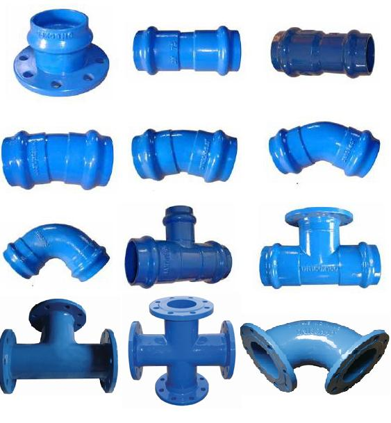 ISO2531,EN545 Cast Iron Flanged elbow reducer tee cross Fittings