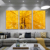3 panels abstract autumn Yellow tree acrylic glass art painting of modern tree