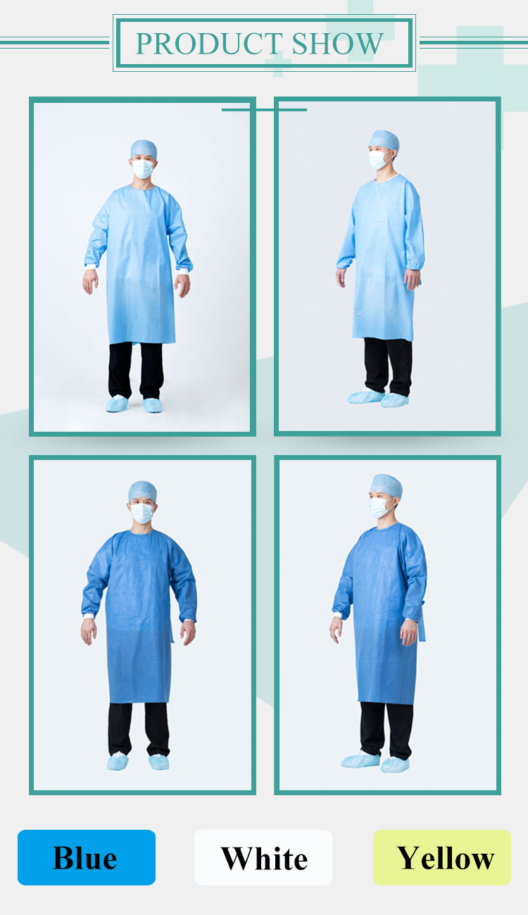 Rhycom Pp Isolation Gown 15-40G Disposable Hospital Isolation Gown