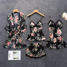 Сексуальный женский халат и халат, кружевной Халат + Ночное платье, 4 предмета, одежда для сна, Женский комплект для сна из искусственного шел...(Китай)