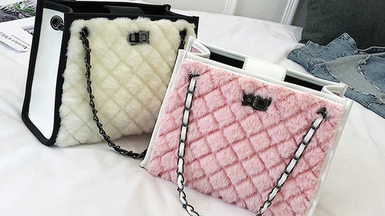 Neue Frauen Große Kapazität Tote Diamant Gitter Winter Faux Pelz Kette Tasche Kontrast Farbe Umhängetasche Plüsch Handtasche Einkaufstasche